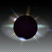 Solar eclipse, astronomical phenomenon, light rays and lens flare backdrop. Star burst with sparkles. The planet covering the Sun in eclipse, isolated on transparent.