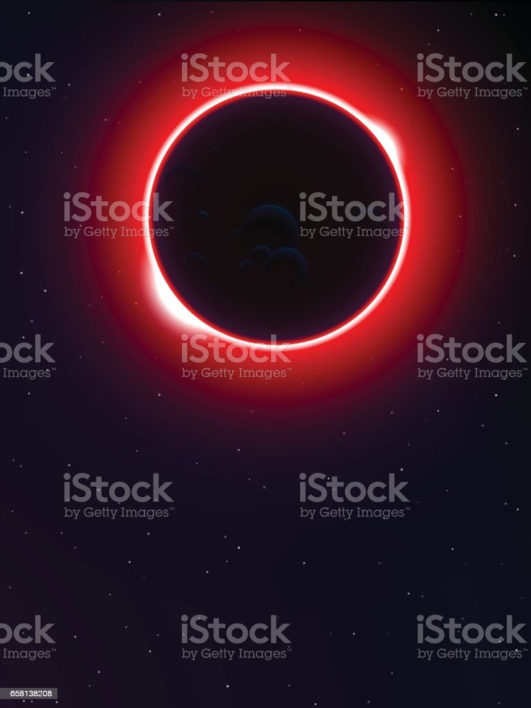 solar eclipse in universe background vector art illustration