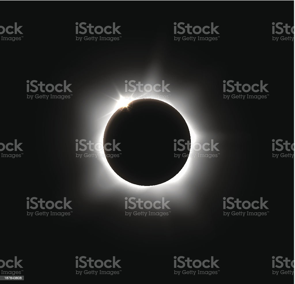 Solar eclipse on a solid black space background vector art illustration