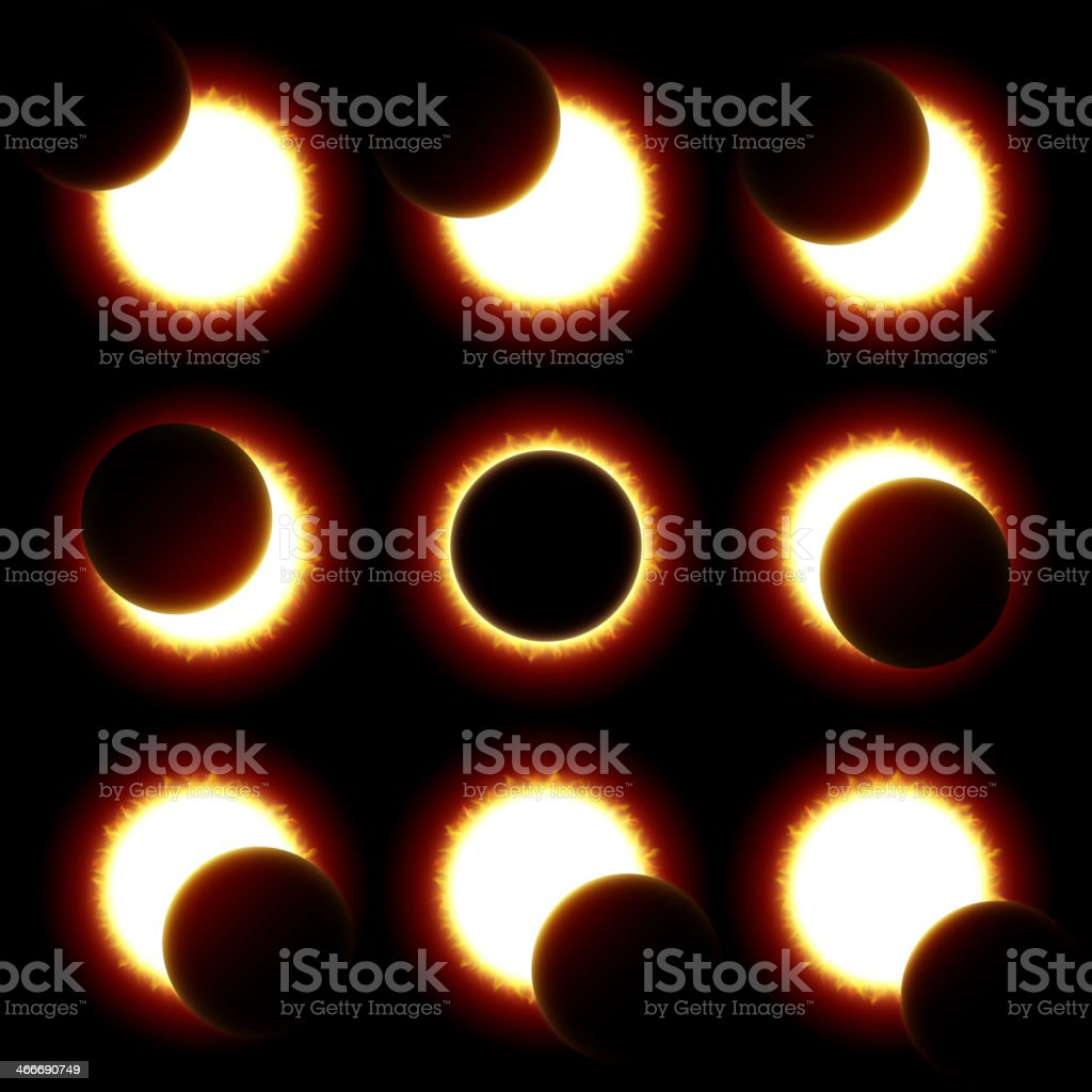 Solar Eclipse phases vector art illustration