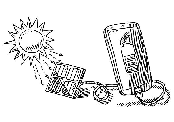 Solar Energy Charging Smart Phone Drawing Hand-drawn vector drawing of a Solar Energy Charging Technology for a Smart Phone. Black-and-White sketch on a transparent background (.eps-file). Included files are EPS (v10) and Hi-Res JPG. environment stock illustrations
