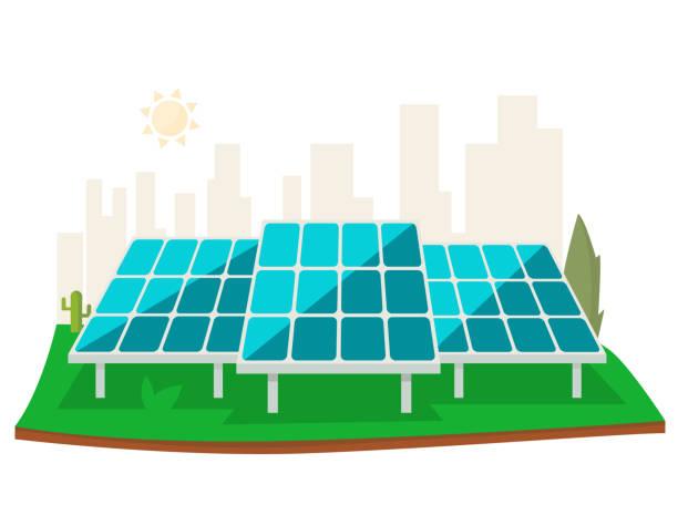 solar energiekonzept - solaranlage stock-grafiken, -clipart, -cartoons und -symbole