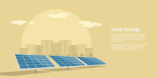 solar-energie-konzept - solaranlage stock-grafiken, -clipart, -cartoons und -symbole