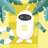 Solar energy. Cute robot charging from the sunlight / flat editable vector illustration, clip art