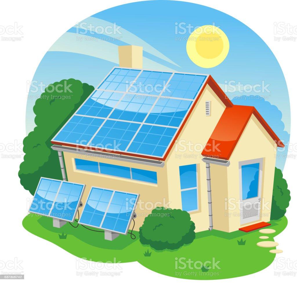 solar-Energie-Haus – Vektorgrafik