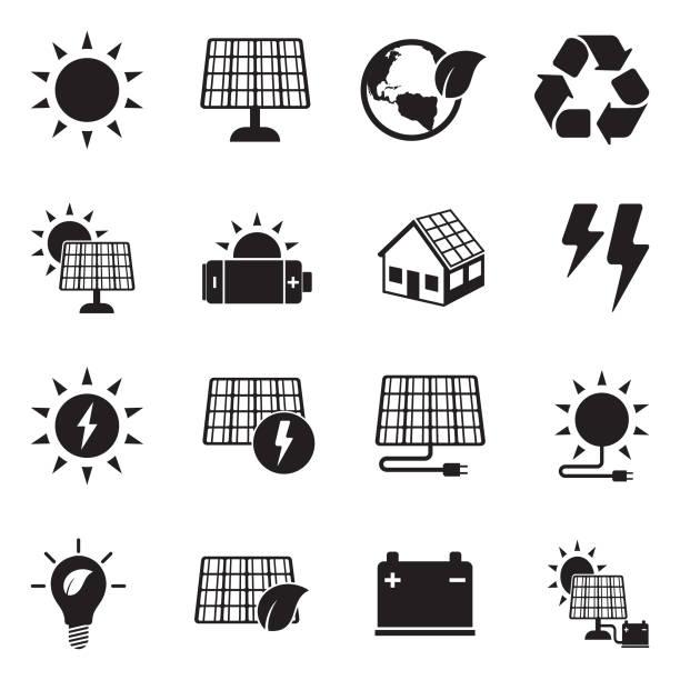 solar energie-symbole. schwarze flache bauweise. vektor-illustration. - solaranlage stock-grafiken, -clipart, -cartoons und -symbole