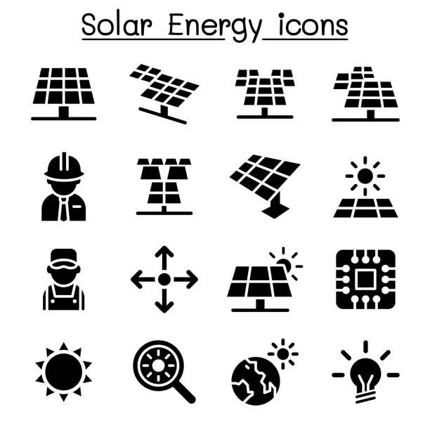 ilustrações de stock, clip art, desenhos animados e ícones de solar energy industrial icon set - solar panel