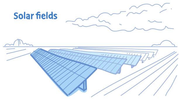 ilustrações de stock, clip art, desenhos animados e ícones de solar energy panel fields renewable station alternative electricity source concept photovoltaic district sketch flow style horizontal - solar panel