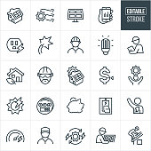 A set of solar energy icons that include editable strokes or outlines using the EPS vector file. The icons include a house with solar panels on the roof, solar panels, sun, electricity, power outlet, engineer, solar installer, cfl lightbulb, inspector, green house, manual worker, cost savings, utility meter, piggy bank, light switch and environmentalist to name just a few.