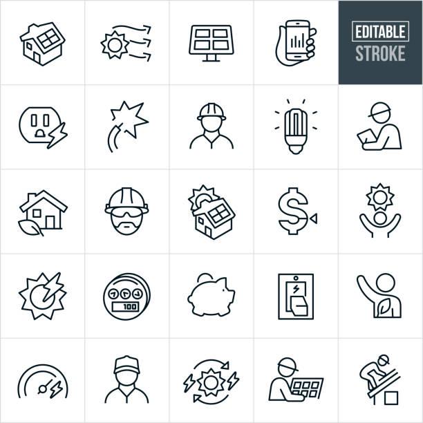 solar energy thin line icons-bearbeitbare stroke - solaranlage stock-grafiken, -clipart, -cartoons und -symbole