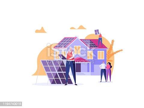 istock Solar engineer in uniform installs and tunes solar panels on house. Concept of solar energy, solar power, solar engineering service, professions of future. Vector illustration in cartoon design. 1194740015