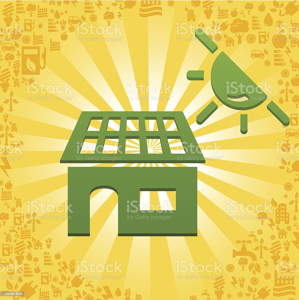 Solar House illustration with ecology icons royalty-free stock vector art