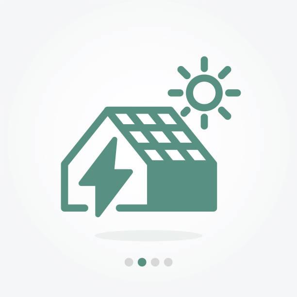 bildbanksillustrationer, clip art samt tecknat material och ikoner med sol house vektor symbol - solar panel