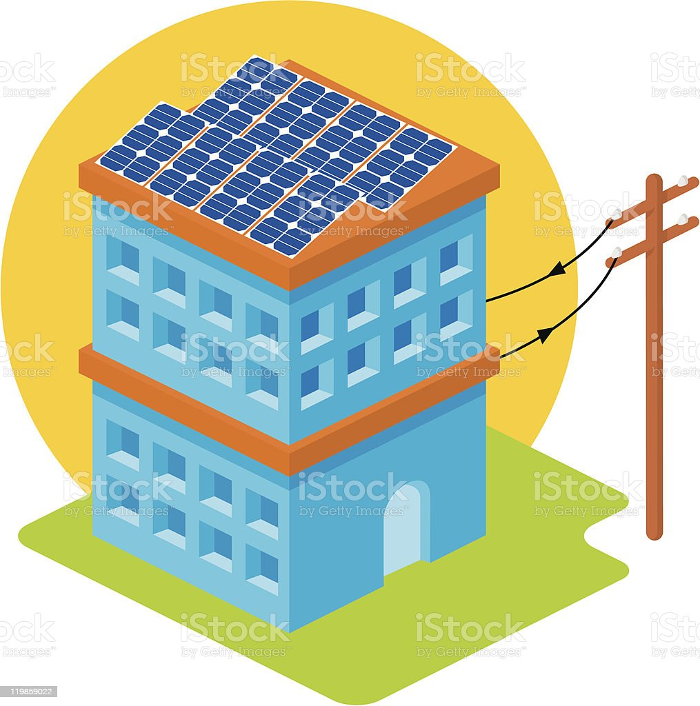 Solar house royalty-free solar house stock vector art & more images of blue