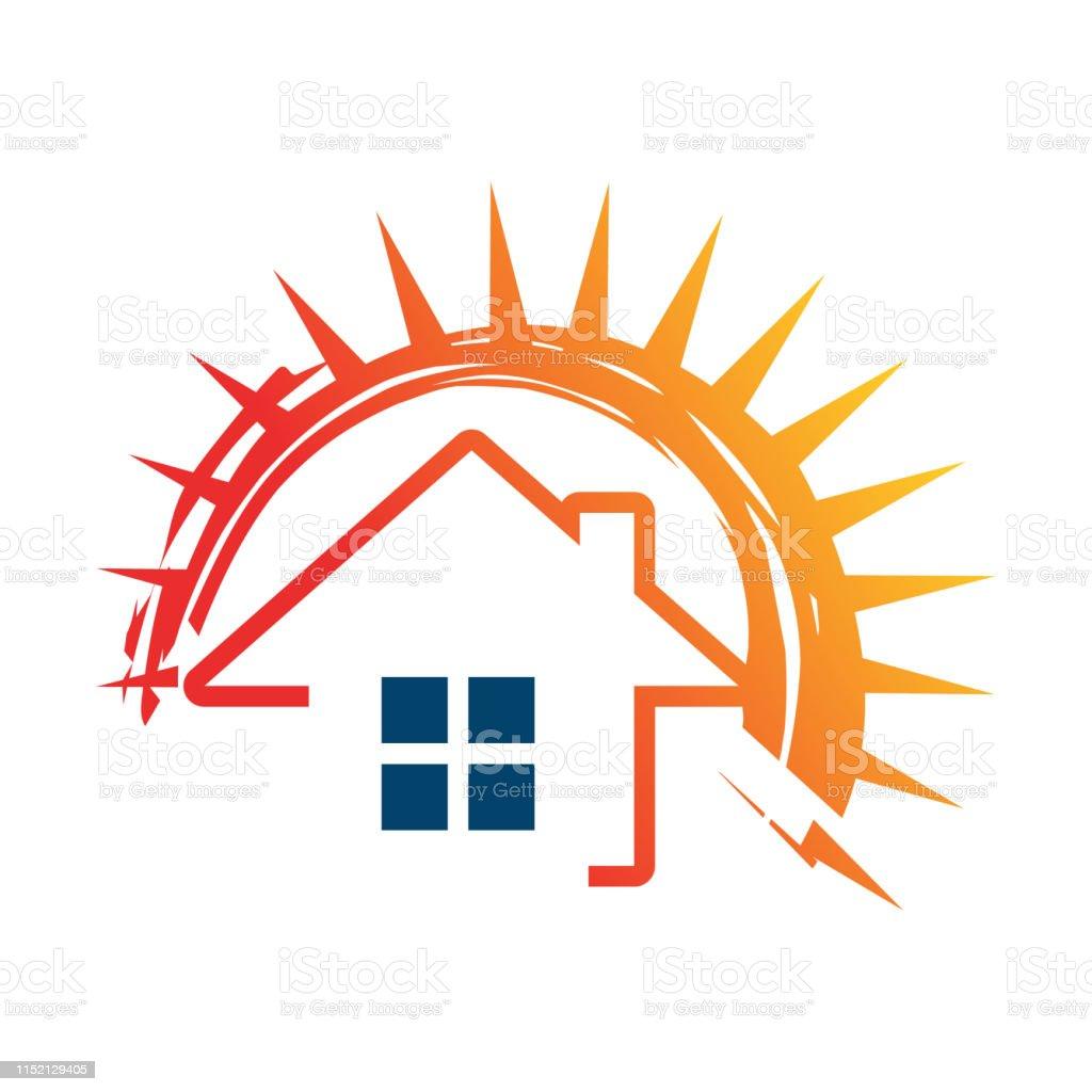 Solar On House Vector And Sun Logo Template Save Energy
