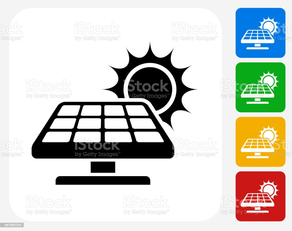 Solar Panel Icon Flat Graphic Design vector art illustration