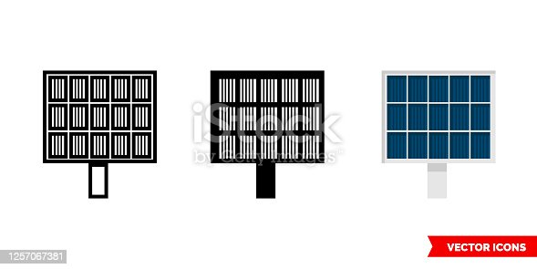 istock Solar panel icon of 3 types. Isolated vector sign symbol 1257067381