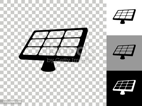 Solar Panel Icon on Checkerboard Transparent Background. This 100% royalty free vector illustration is featuring the icon on a checkerboard pattern transparent background. There are 3 additional color variations on the right..