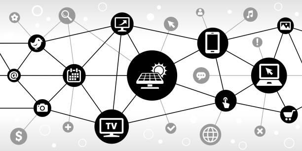 ilustrações de stock, clip art, desenhos animados e ícones de solar panel internet communication technology triangular node pattern background - wireframe solar power