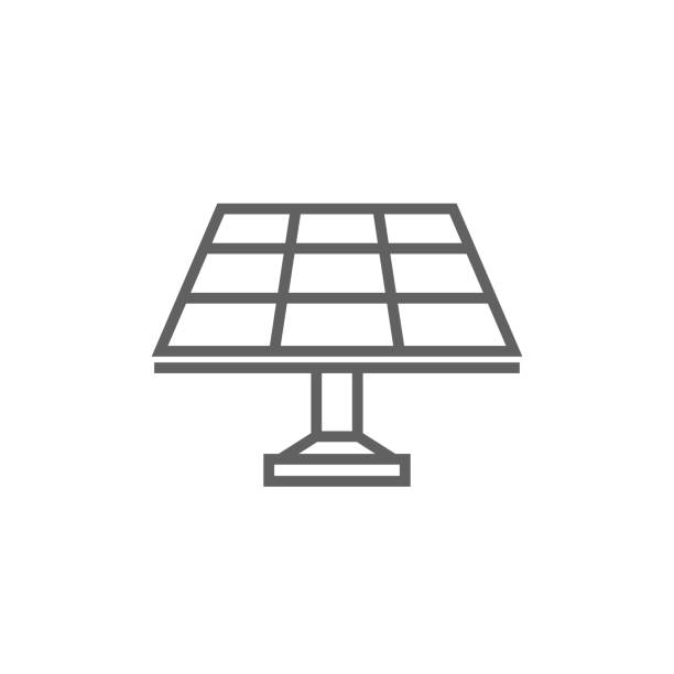 sonnenkollektor-linie-icon - solaranlage stock-grafiken, -clipart, -cartoons und -symbole