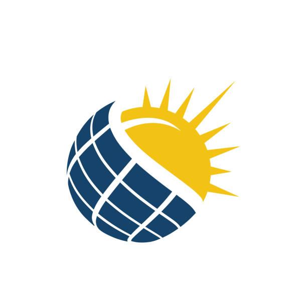 ilustrações, clipart, desenhos animados e ícones de vetor do logotipo do painel solar - energia solar