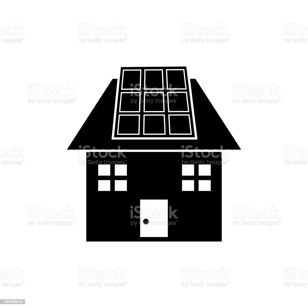 Solar Panel On House Renewable Energy Vector Icon Stock
