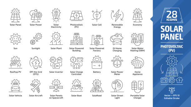 solar panel outline icon set with sun power photovoltaic (pv) home system and renewable electric energy technology editable stroke line signs: house, cell, battery, vehicle, aircraft and spacecraft. - solar panels stock illustrations