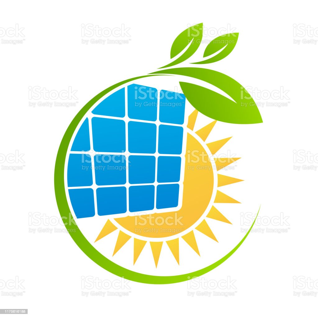 Solar panel sun logo template. Save Energy green power and natural...