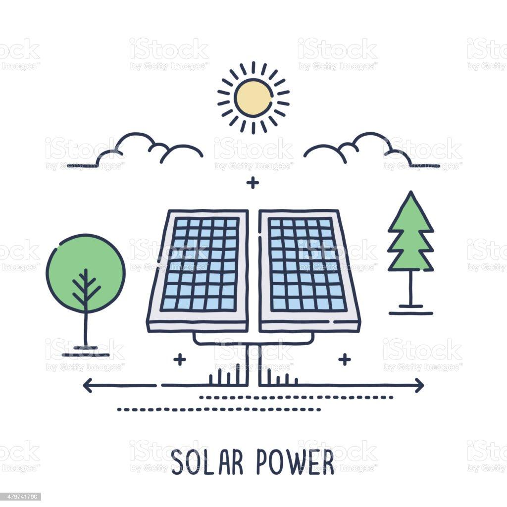 Solar Panel Symbol vector art illustration