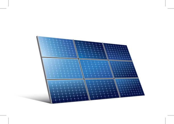 ilustrações, clipart, desenhos animados e ícones de painel solar-vetor - energia solar