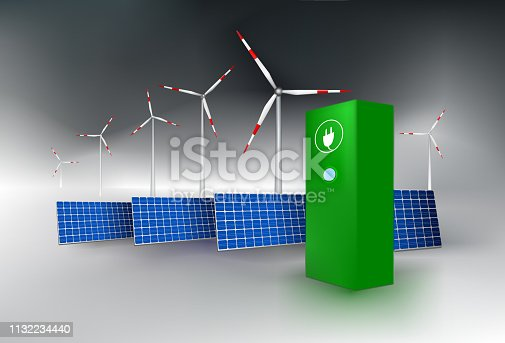 istock Solar panel, wind turbines and charging station. 1132234440