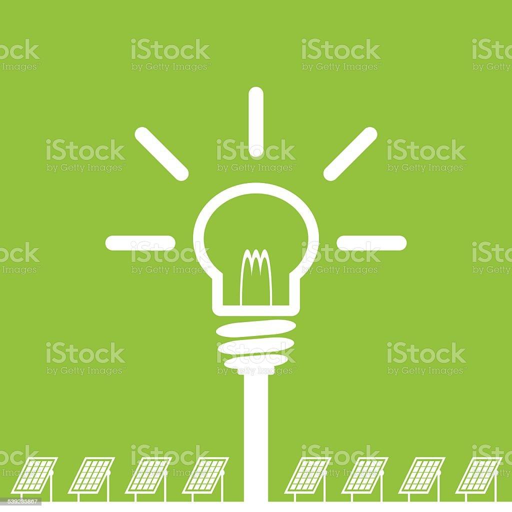 panel solar con lámpara, concepto de energía limpia ilustración de panel solar con lámpara concepto de energía limpia y más banco de imágenes de 2015 libre de derechos