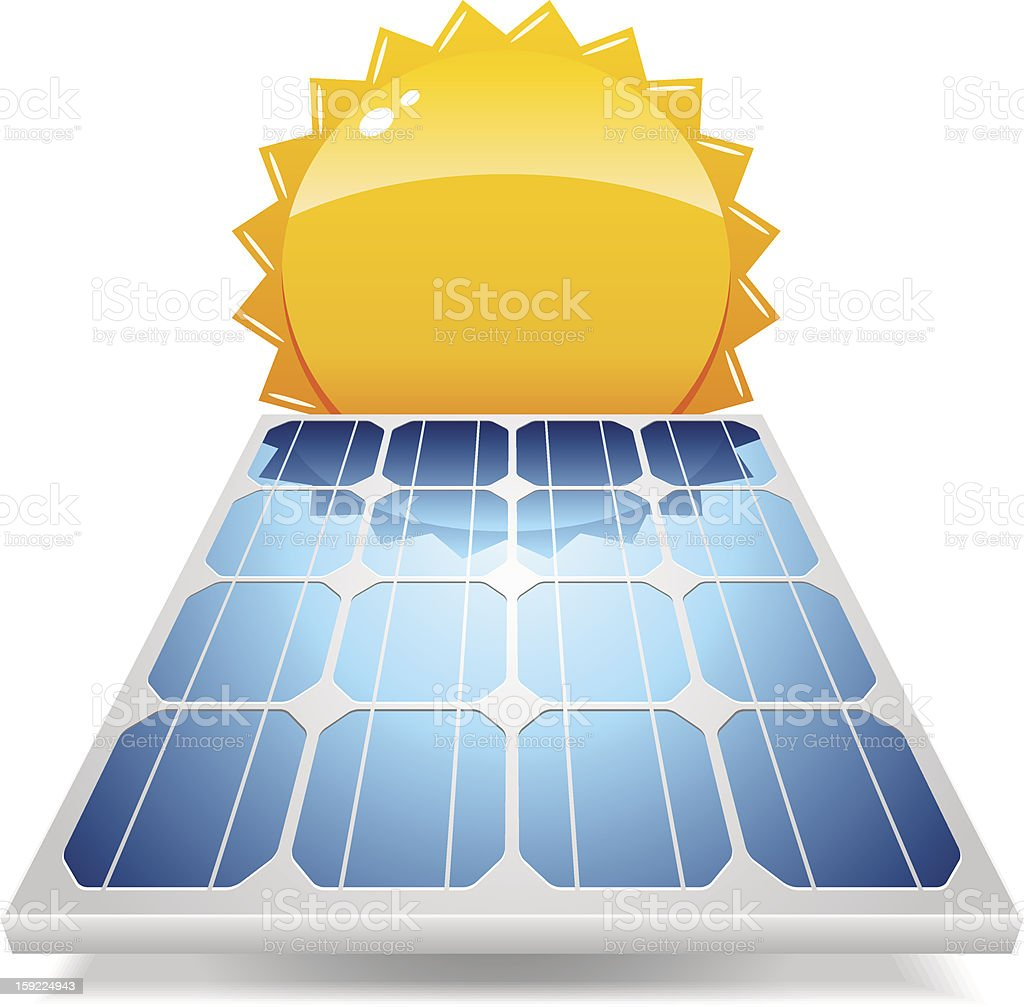 Solar panel with sun vector art illustration