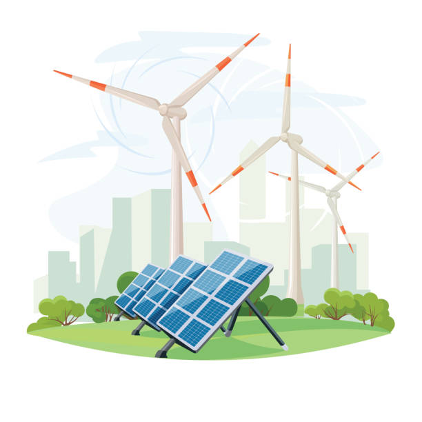 Solar panels and wind turbines, green energy, urban landscape, ecology. Ecological sustainable energy supply. Vector vector art illustration