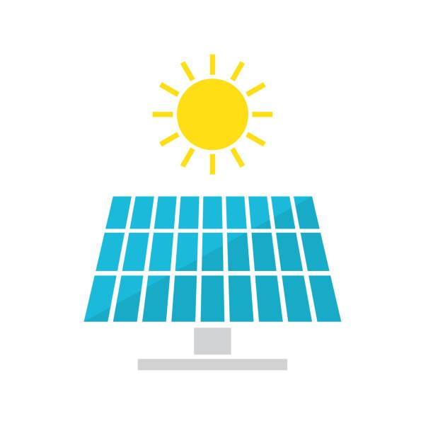 ilustrações, clipart, desenhos animados e ícones de ícone de painéis solares - energia solar