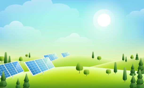 sonnenkollektoren in grünen hügeln - solaranlage stock-grafiken, -clipart, -cartoons und -symbole