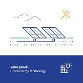 Solar panels line icon, green energy concept