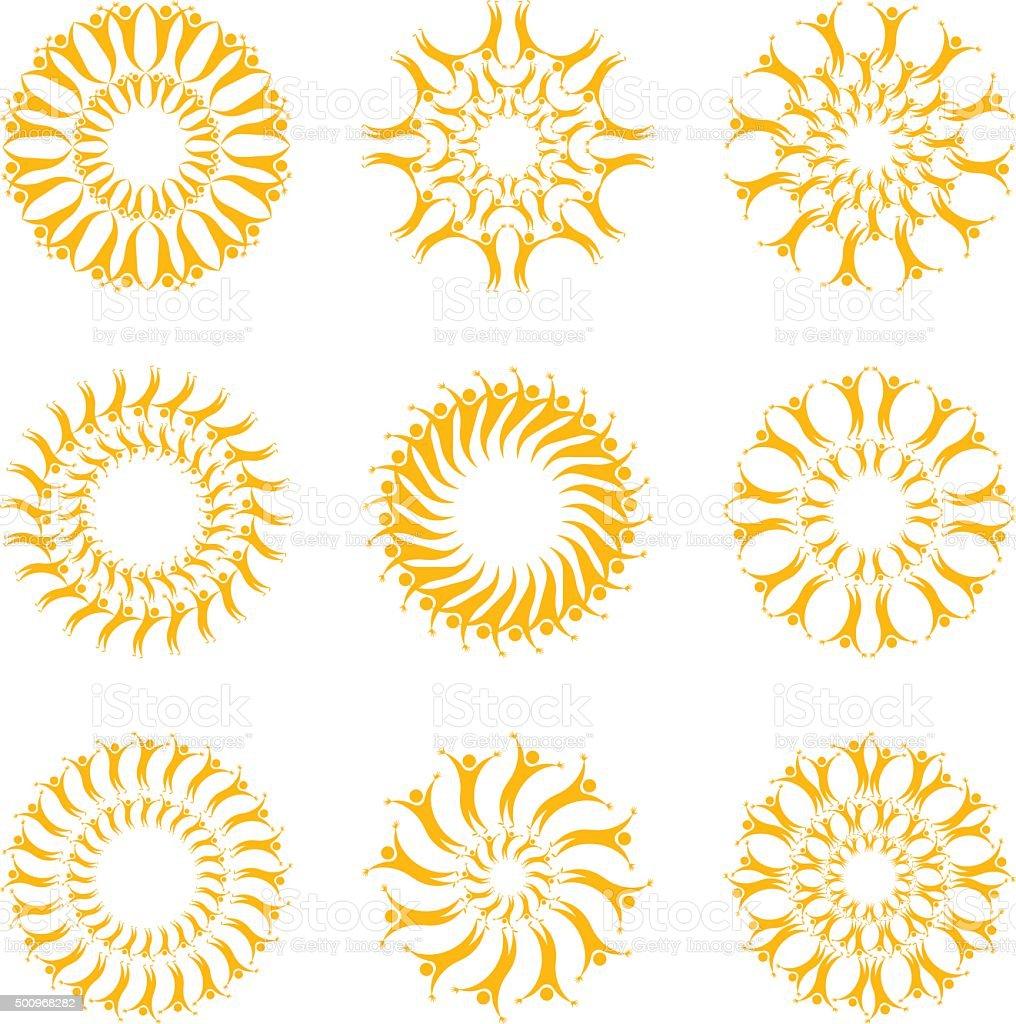 Solar people. Set symbols of the sun. vector art illustration