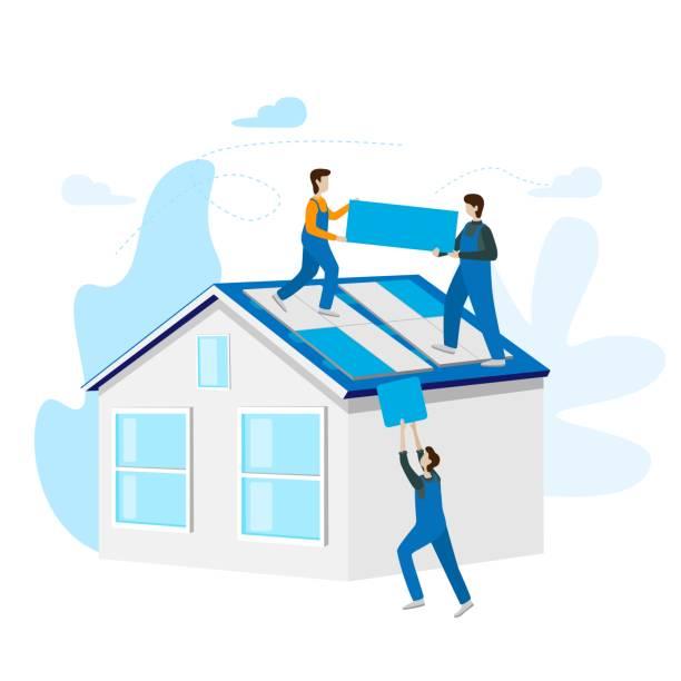 ilustrações de stock, clip art, desenhos animados e ícones de solar power concept installed. solar cell system home. - solar panel