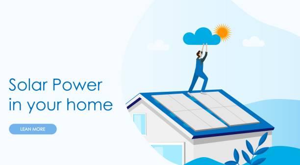 ilustrações de stock, clip art, desenhos animados e ícones de solar power concept landing page. solar cell system home. - solar panel