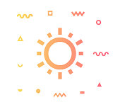 Solar power outline style icon design with decorations and gradient color. Line vector icon illustration for modern infographics, mobile designs and web banners.