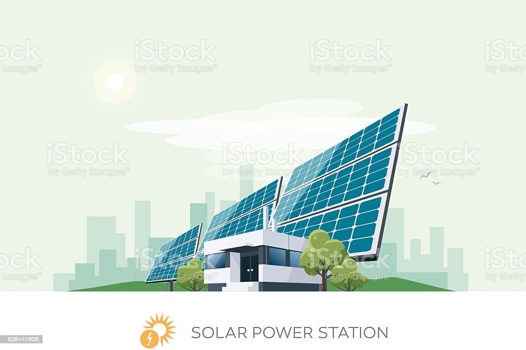 Solar Power Station vector art illustration