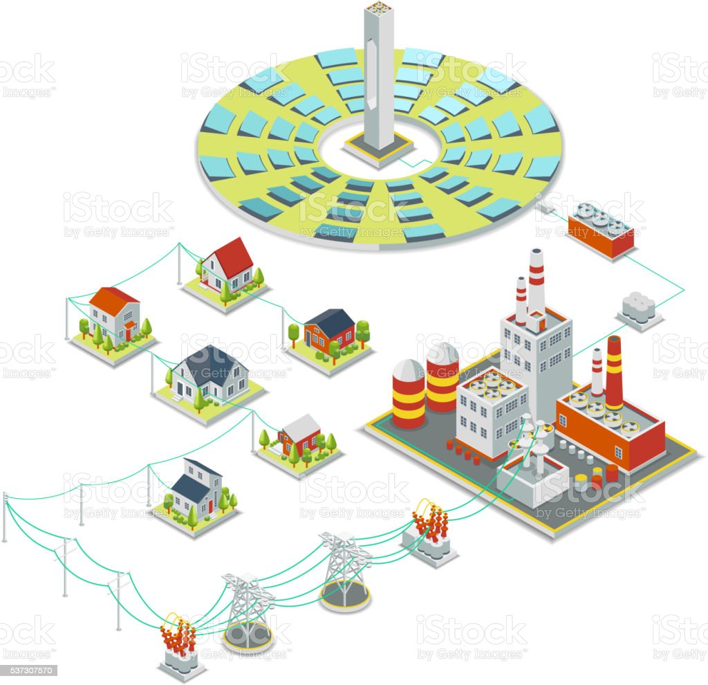 Solar power system. 3D isometric electricity concept vector art illustration
