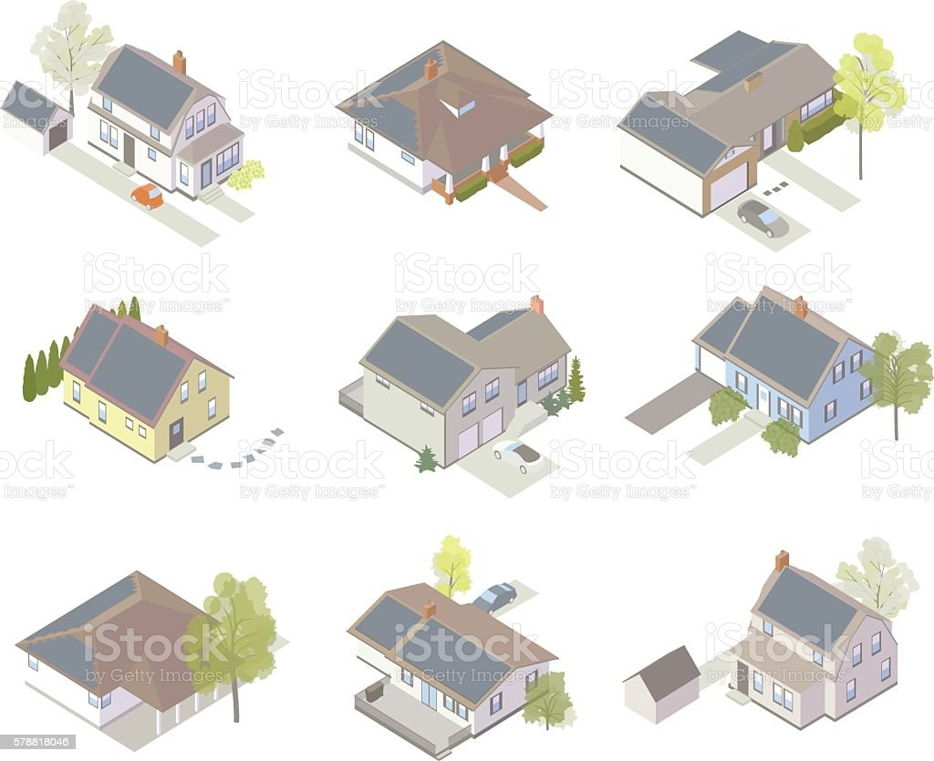 Solar panel house icons