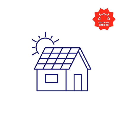 Solar Roof Line Icon with Editable Stroke and Pixel Perfect.