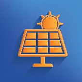 Solar sun design on blue background,vector