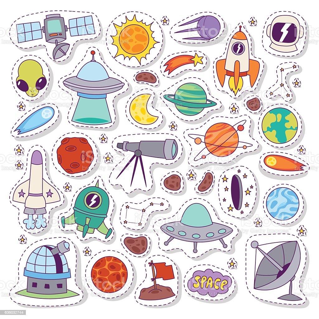 Solar system astronomy icons stickers vector set. - ilustração de arte em vetor