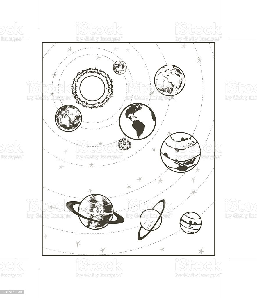 solar system black drawing sketch vector illustration