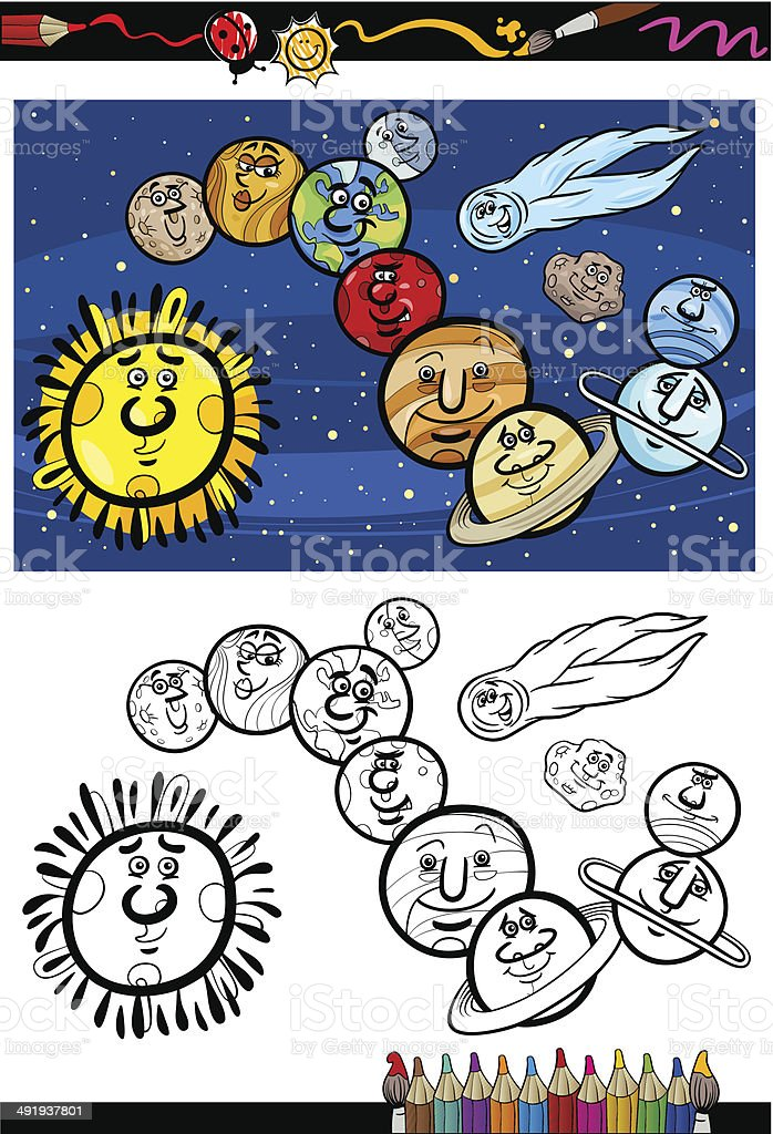 solar system cartoon coloring book royalty-free stock vector art