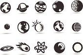 A set of royalty-free solar system icons and planets and other celestial objects.